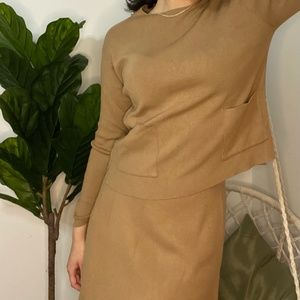 Camel Zara Knit Co-ord Top and Skirt Set